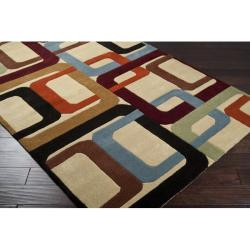 Hand-tufted Contemporary Multi Colored Square Irvine Wool Geometric Rug (7'6 x 9'6) - Thumbnail 1