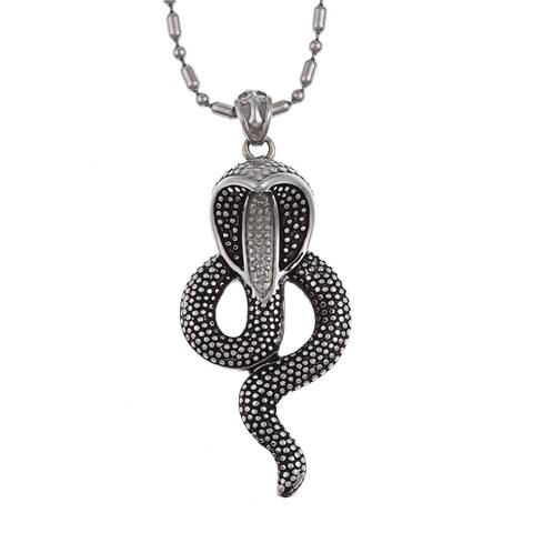 Ion-plated Black Stainless Steel Snake Shape Necklace