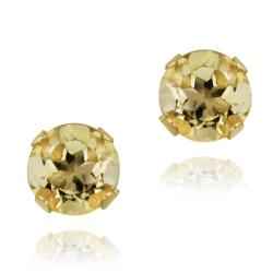 Glitzy Rocks 14k Yellow Gold 1/2ct TGW 4mm Citrine Stud Earrings