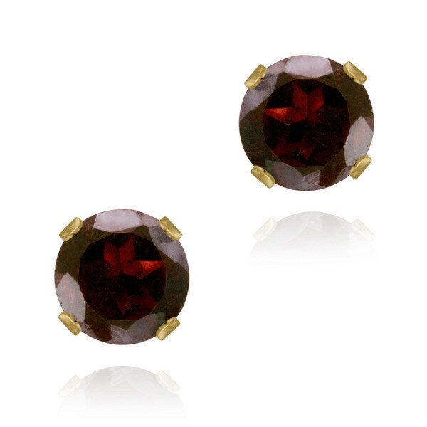 Glitzy Rocks 14k Yellow Gold 2 2/5ct TGW 6mm Garnet Stud Earrings