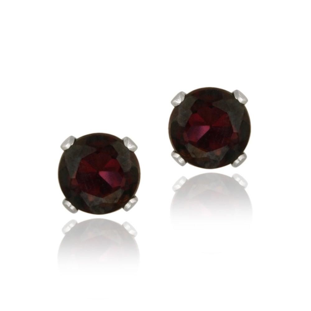 Glitzy Rocks 14k White Gold 1 1/10ct TGW Garnet Stud Earrings
