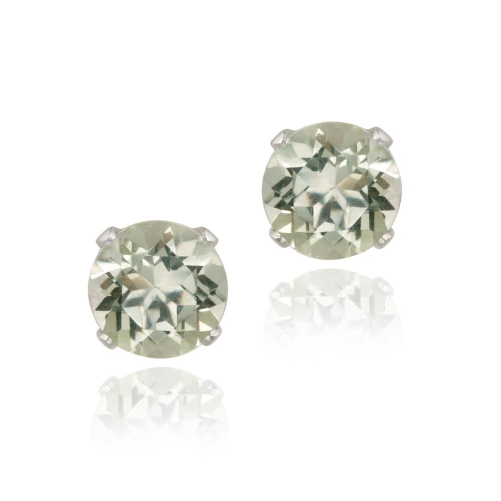 Glitzy Rocks 14k White Gold 2 2/5ct TGW 7mm Green Amethyst Stud Earrings