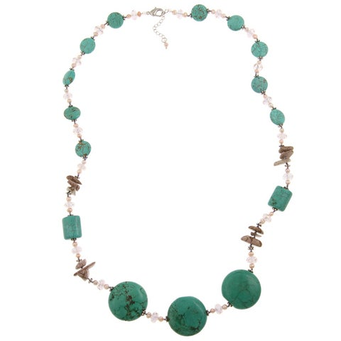 Pearlz Ocean Turquoise Howlite, Jasper and FW Pearl Necklace (3 mm) Jewelry for Womens