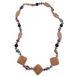 Pearlz Ocean Silvertone Peach Stone Necklace