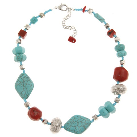 Pearlz Ocean Silvertone Faux Turquoise and Coral Bead Necklace