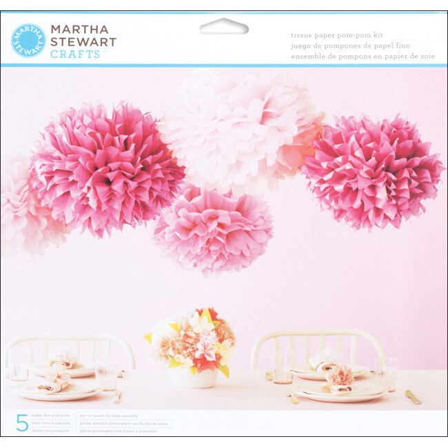 Martha Stewart Vintage Girl Pink Tissue Paper Pom Pom Kit