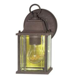 Woodbridge Lighting Basic 1-Light Powder-Coat Rust Outdoor Wall Light with Clear Glass Shade