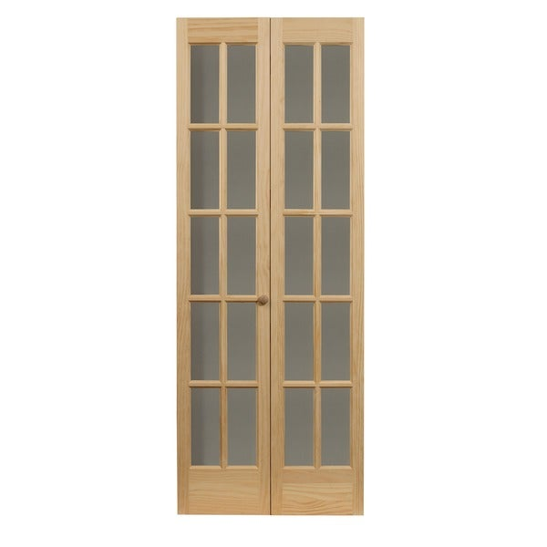 Traditional Divided Glass 32x80.5 Inch Unfinished Bifold Door