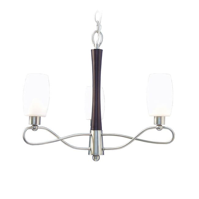 Woodbridge Lighting Berkeley 3-light Black Walnut/ Nickel Chandelier