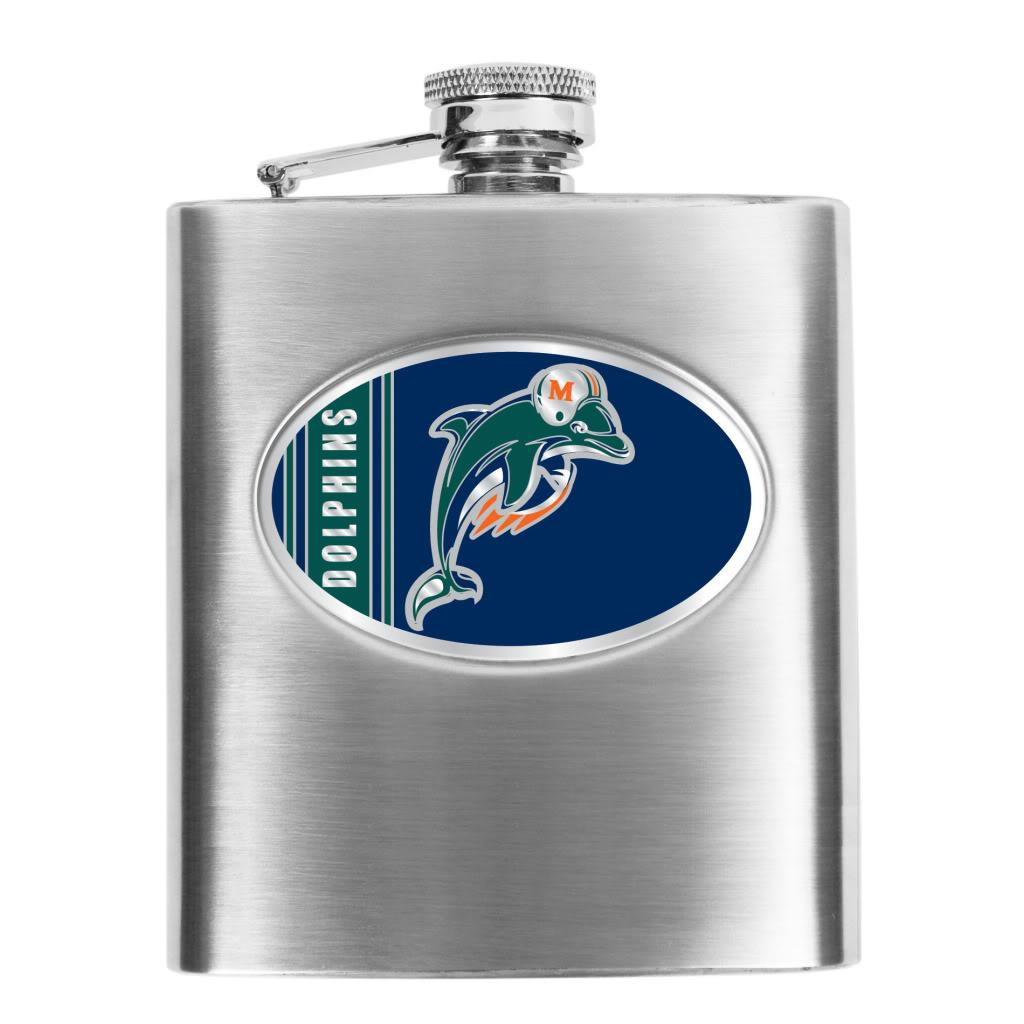 Miami Dolphins 8-oz Stainless Steel Hip Flask