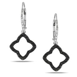 Miadora Sterling Silver 1/5ct TDW Black and White Diamond Earrings