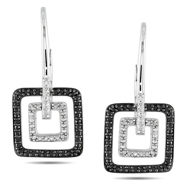 Miadora Sterling Silver 1/4ct TDW Black and White Diamond Earrings (G-H, I3)