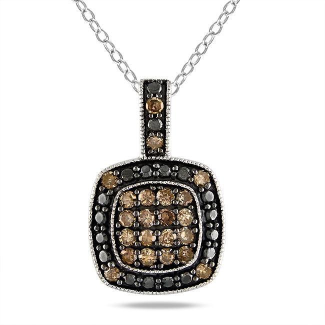 Miadora Sterling Silver 1/2ct TDW Brown Diamond Fashion Necklace (I3)