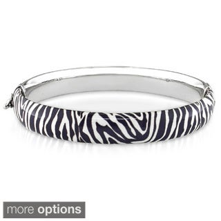 Miadora Women's Stylish High-polish Sterling Silver Animal-print Bangle