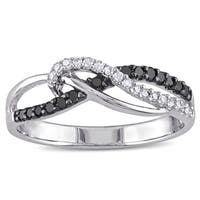 Miadora Sterling Silver 1/4ct TDW Black and White Diamond Ring