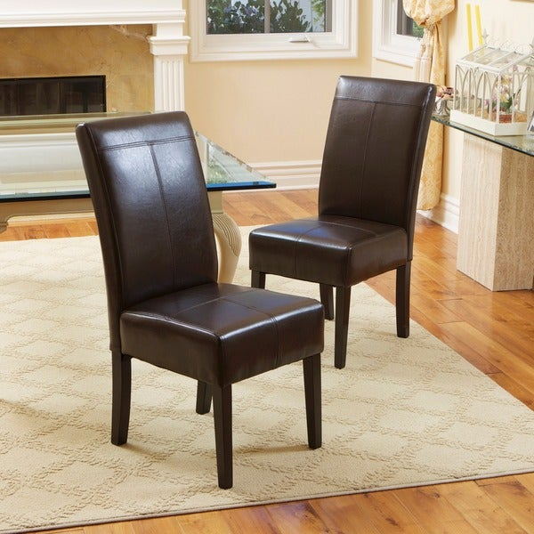 Dining Chairs Brown t-stitch chocolate brown leather dining chairs (set of 2)