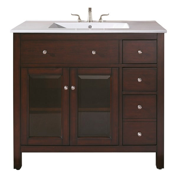 Avanity Lexington 36-inch Single Vanity in Light Espresso Finish with Sink and Top