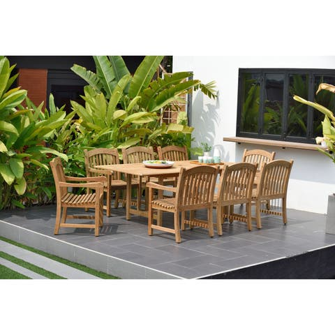 Havenside Home Tottenville Rectangular Extendable 9-piece Teak Dining Set