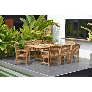 Amazonia Teak Cannes Rectangular Extendable 9 Piece Teak Dining Set