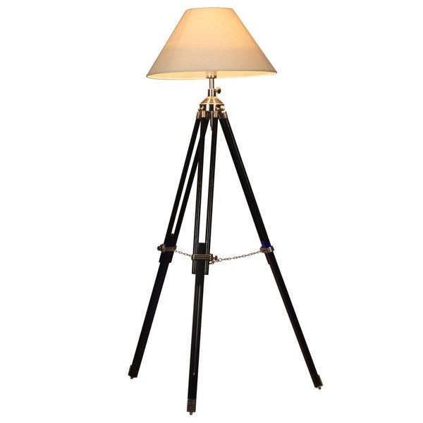 Shop Oxford Tripod Wood Floor Lamp With White Shade Free
