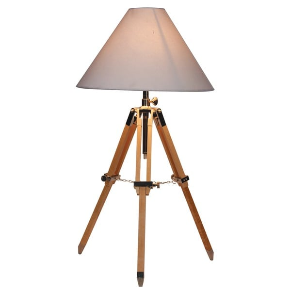 croyden tripod wood table lamp with natural shade free shipping today 13837224. Black Bedroom Furniture Sets. Home Design Ideas