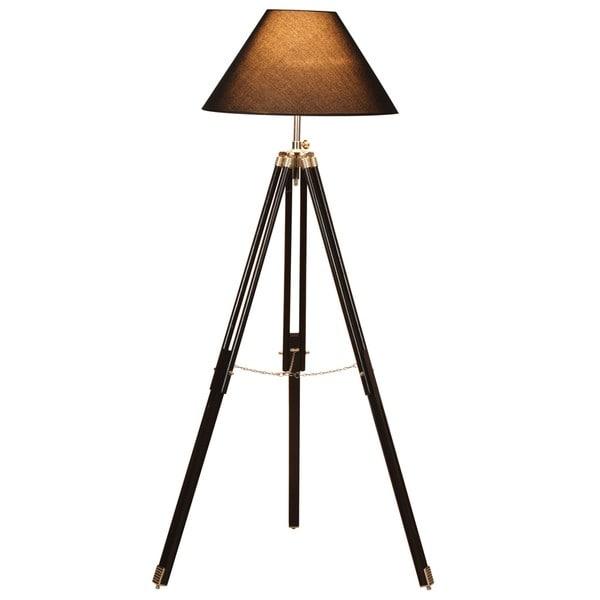 Croyden Tripod Wood Floor Lamp With Black Shade Free