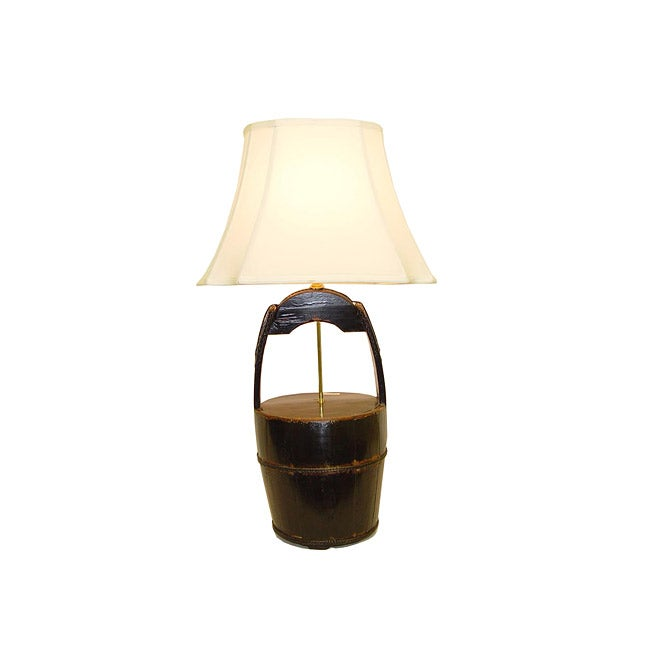 Black Wooden Bucket with Handle Table Lamp