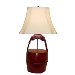 Red Wooden Bucket with Handle Table Lamp - Thumbnail 0