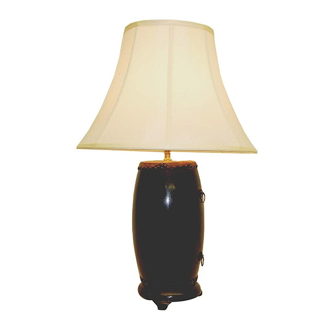 Black Barrel Drum Wood Table Lamp