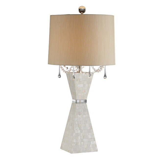 Pyramid Mother-of-pearl Crystal Table Lamp, White