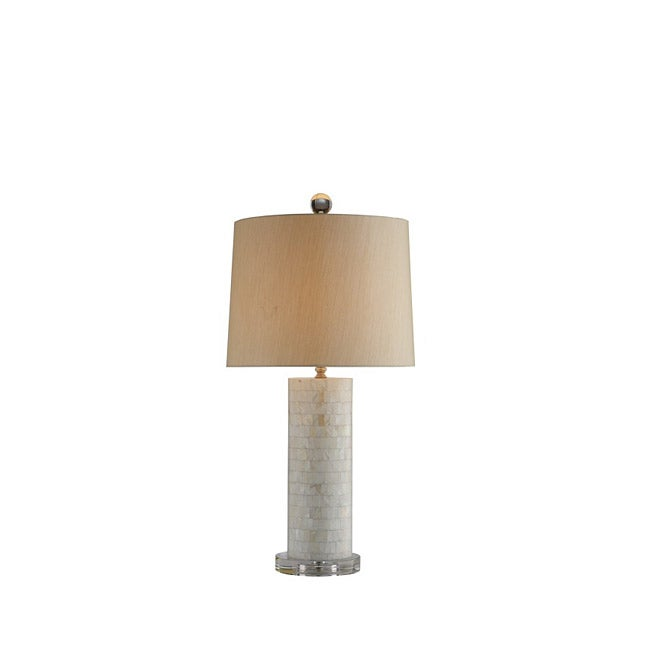 Round Mother-of-pearl Tile Table Lamp