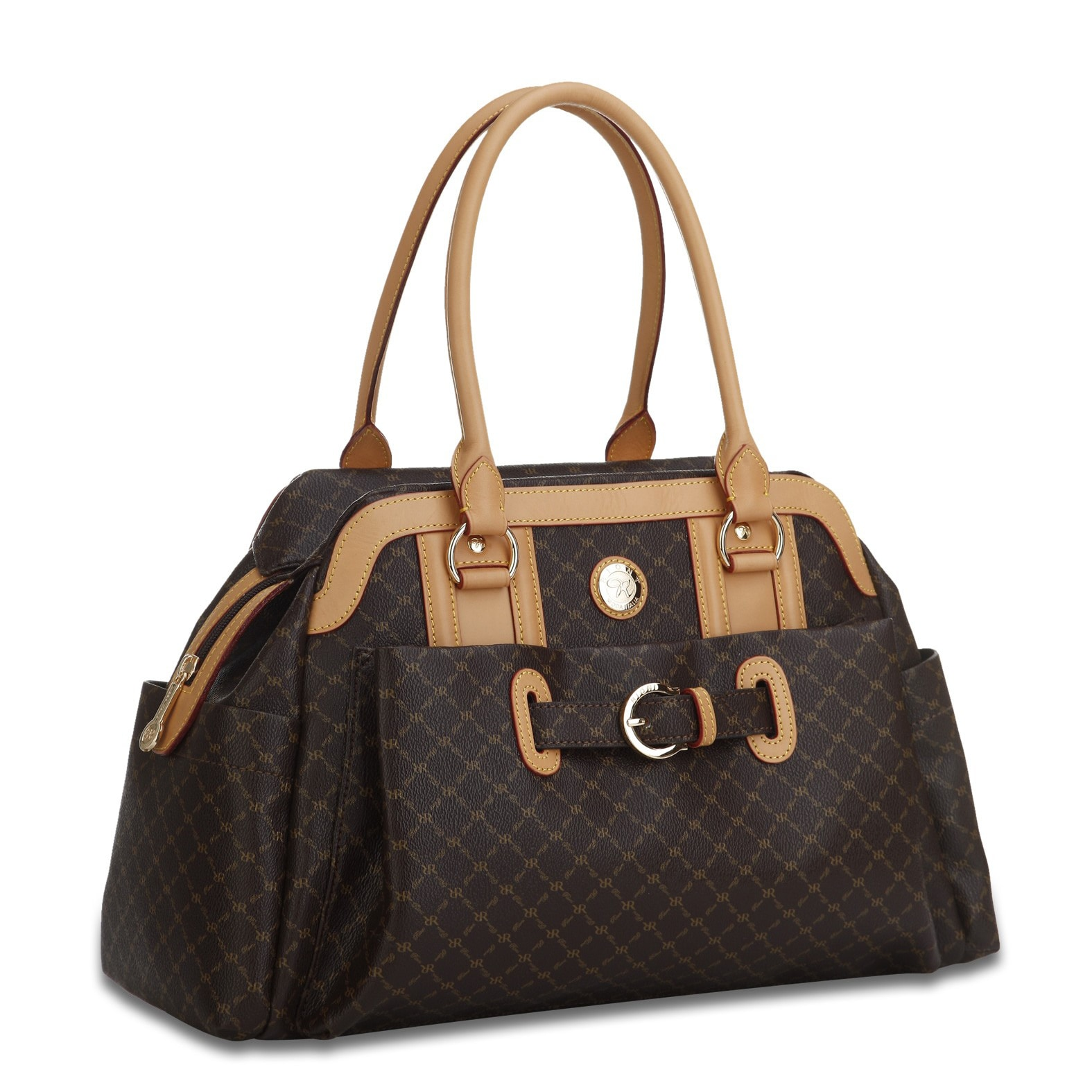 Rioni Brown Signature Leather Handbag (Brown), Women's
