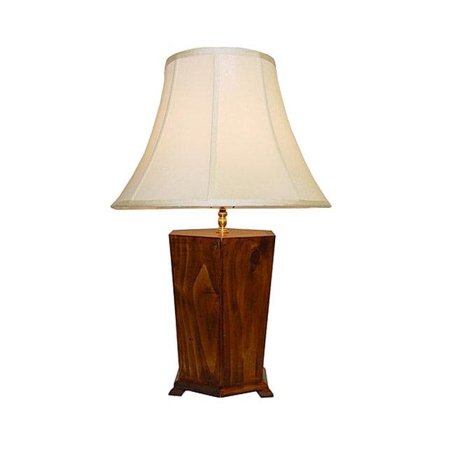 Natural Hexagon Wooden Box Table Lamp