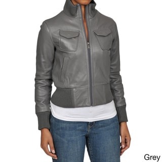 Knoles & Carter Women's 'Veronica' Leather Bomber Jacket