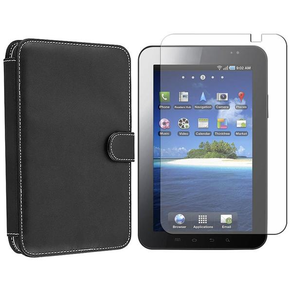 Black Leather Case/Screen Protector for Samsung Galaxy Tab P1000