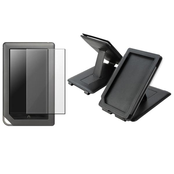 INSTEN Black Leather Phone Case Cover/ Screen Protector for Barnes and Noble Nook Color