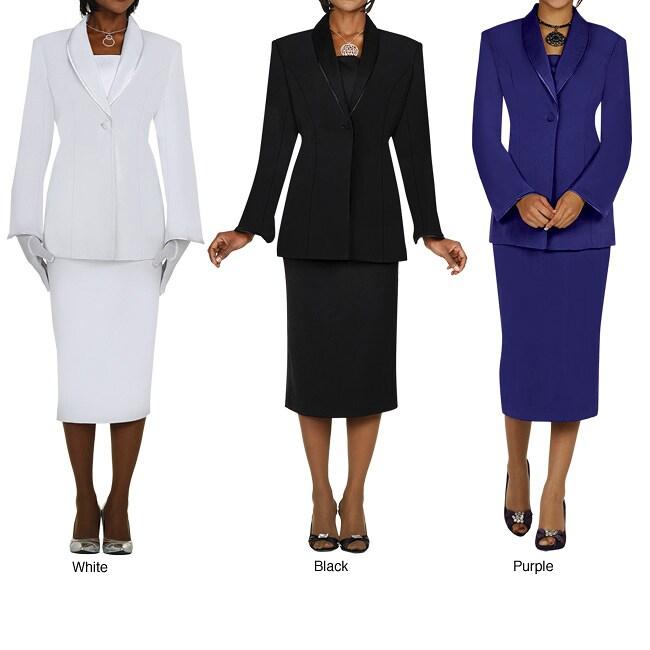 Divine Apparel Women's Comfortable Plus Size Satin Trimmed Shawl Collar Skirt Suit