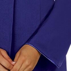 Divine Apparel Women's Comfortable Plus Size Satin Trimmed Shawl Collar Skirt Suit - Thumbnail 2