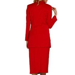 Divine Apparel Women's Plus-Size Three-Piece Satin-Wing-Collar Peak-Lapel Elastic Skirt Suit