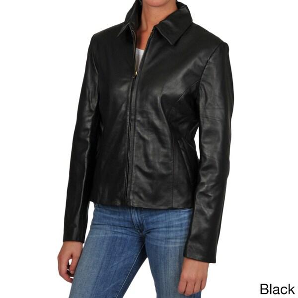 Tibor Women's Zip Front Shirt Collar Leather Jacket