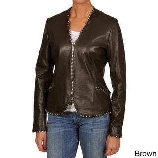 Tibor Women's Waist Length Leather Jacket