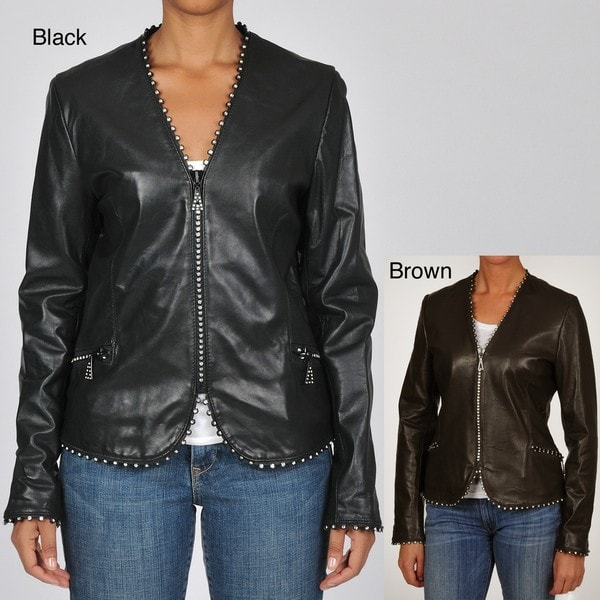 Tibor Women's Plus Size Waist Length Leather Jacket