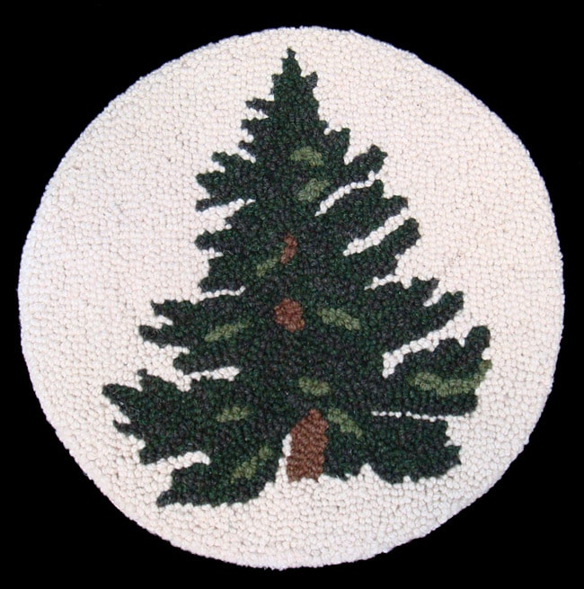 Wool Tree Design Chair Pad - Thumbnail 0