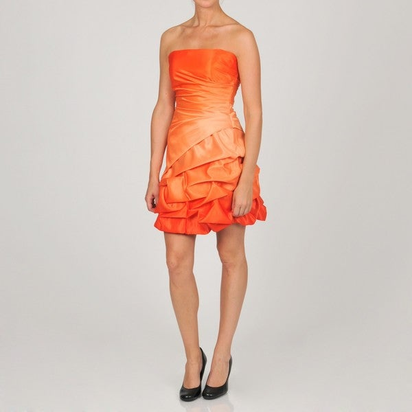 Onyx Nite Women's Junior Tangerine Bubble Hem Party Dress