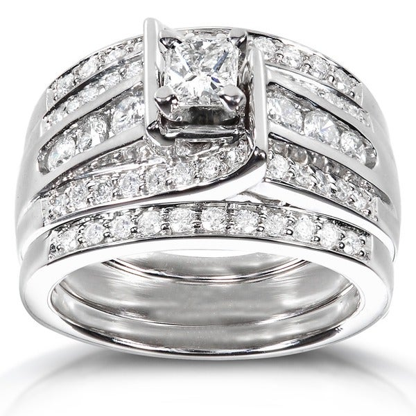 Annello by Kobelli 14k White Gold 1ct TDW 3-piece Diamond Bridal Ring Set