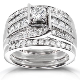 Annello 14k White Gold 1ct TDW 3-piece Diamond Bridal Ring Set (H-I, I1-I2)