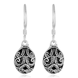 Handmade Silver-Plated Ornamented Oval Dangle Earrings (Indonesia)