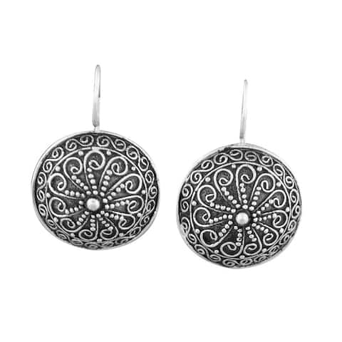 Handmade Silver Plated Ornamented Discs Earrings (Indonesia)