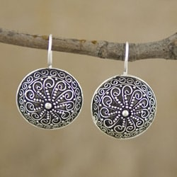 Silver-plated 'Ornamented Discs' Earrings (Indonesia)