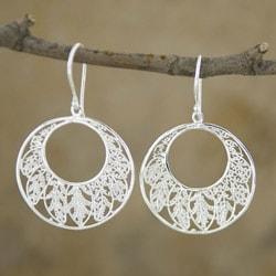 Silver-Plated Round 'Leaves' Dangle Earrings (Indonesia)